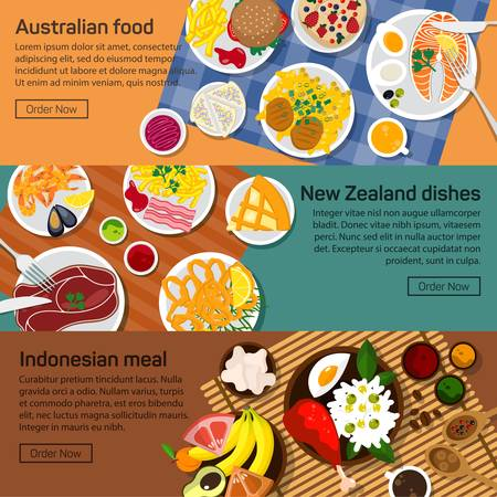 indonesia: Vector flat illustration of Australia, New Zealand, Indonesia national dishes. Salads and meat meals with sauce and spicy ingredients, fruits