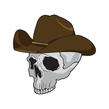 skeleton cartoon: Cowboy skull wearing a stylish brown fedora hat in a halloween concept, cartoon style Illustration