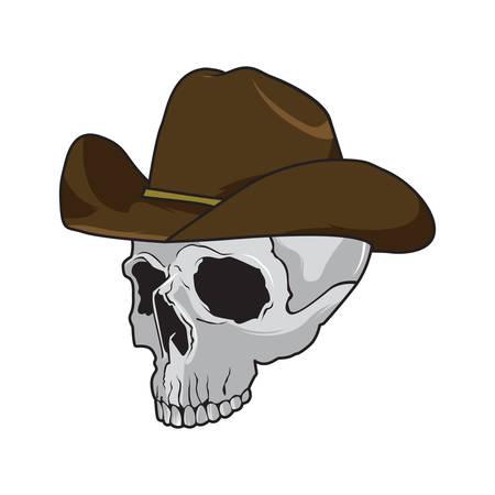 sombrero pirata: Cráneo del vaquero que lleva un sombrero de fieltro marrón elegante en un concepto de halloween, estilo de dibujos animados
