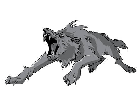 black and white wolf: black and white engrave isolated vector wolf