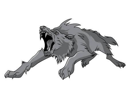lobo feroz: grabado aislado vector lobo blanco y negro