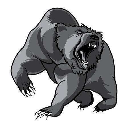 symbol sport: Gehen Bär und Tierkopf Schwarz-Weiß-Vektor Überblick Emblem