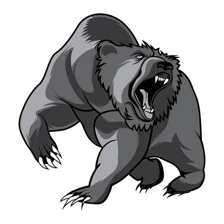 sport background: walking bear and animal head black and white vector outline emblem