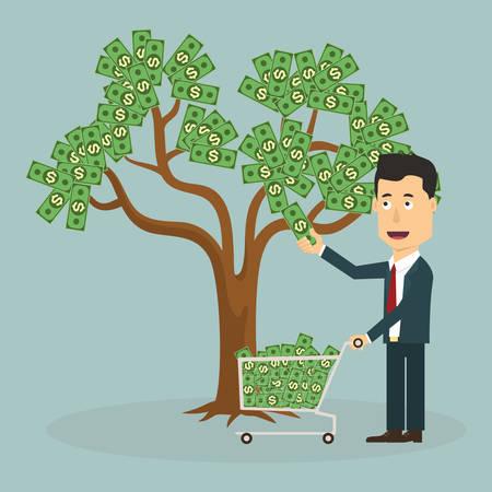 ganancias: El hombre de negocios desplume dinero de árbol - ilustración vectorial