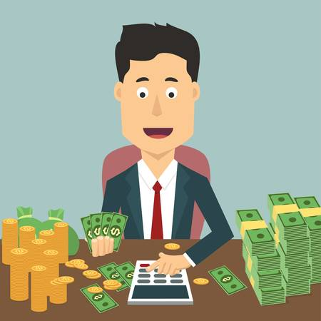 dollar coins: Vector flat illustration of a businessman with pile of money. Rich man counting wealth. Growth of fortune savings Illustration