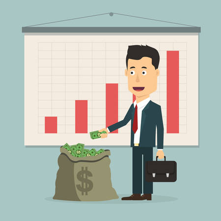 counting money: Vector flat illustration of a businessman with pile of money in the bag. Rich man counting wealth. Growth of fortune savings
