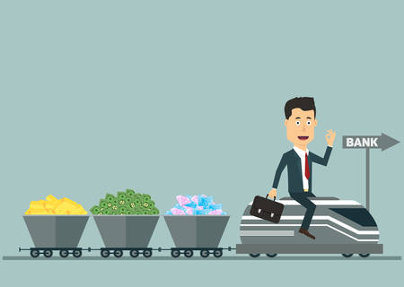 Vector flat illustration of a businessman on the train with wagons full of money, treasures, gold. Rich man going to bank. Investing money for fortune growth. Ilustração