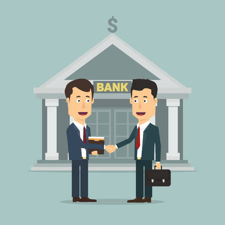 sealing: Vector flat illustration of two businessmen making signing, sealing the deal. Successful agreement for both clerk and client in suits. Deposit or loan deal with bank.