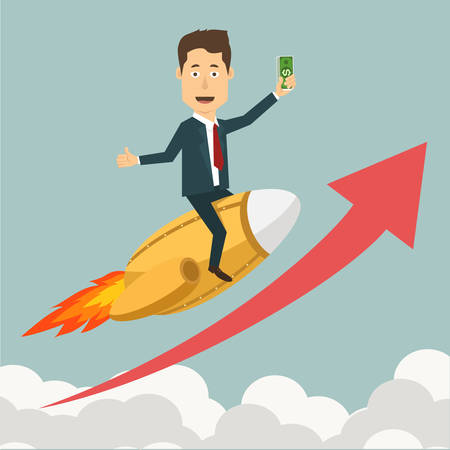 financial stability: Vector flat illustration of a businessman flying on jet rocket through clouds to the peak highest point. Concept of reaching a goal, growth of savings, moving towards financial stability.