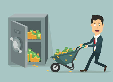 money savings: Vector flat illustration of a businessman with hand wheel-barrow full of money. Rich man depositing his fortune to bank. Investments for future. Loading money into protected safe.