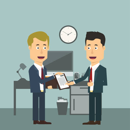 approving: Vector flat illustration of two businessmen making signing, sealing the deal. Successful agreement for both workers in suits. Approving or allowing business plan.