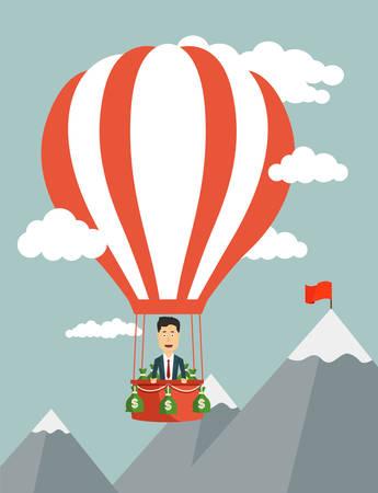 aeronautics: Vector flat illustration of a businessman flying on aeronautics balloon through clouds to the peak of mountain. Concept of reaching a goal Illustration