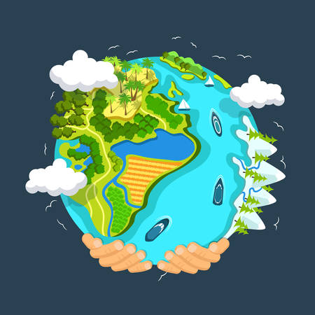houses on water: Flat style vector isolated illustration.. Earth day concept. Human hands holding floating globe in space. Save our planet. Solar, renewable energy Illustration