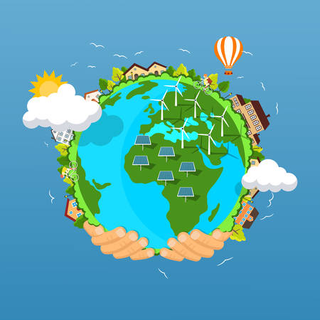 conservation: Flat style vector isolated illustration.. Earth day concept. Human hands holding floating globe in space. Save our planet. Solar, renewable energy Illustration