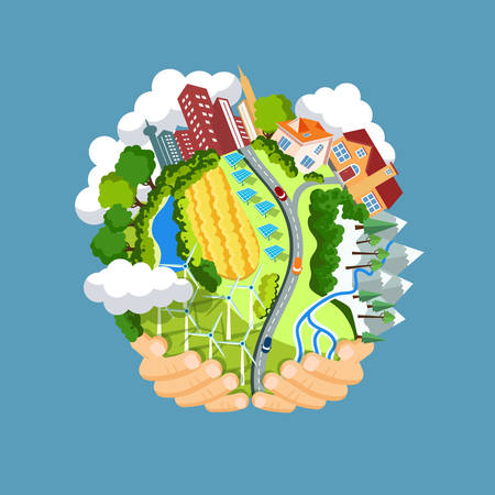 atmospheres: Flat style vector isolated illustration.. Earth day concept. Human hands holding floating globe in space. Save our planet. Solar, renewable energy Illustration