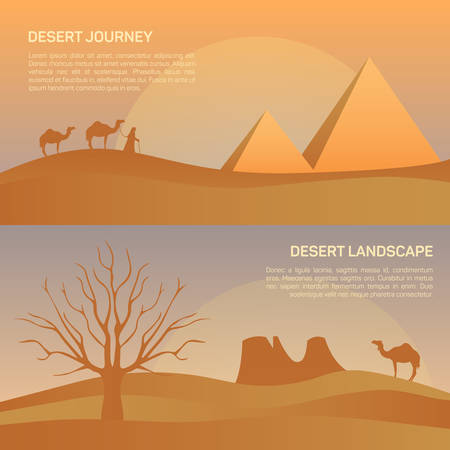 convoy: Vector illustration of landscape in savanna, morning sunrise with elephant, giraffe, gemsbok gemsbuck.  Scenic view of meadow with nature trees, sky, mountains and wild nature.