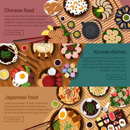 Illustrazione piatto di piatti nazionali cinesi, giapponesi, coreano, Hong Kong. Pasti sushi con ingredienti piccanti
