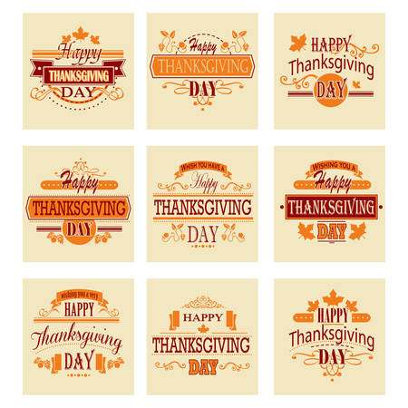 Typographic Thanksgiving Design Set. Vector illustration