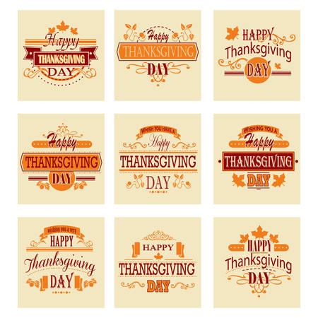 caes: Typographic Thanksgiving Design Set. Vector illustration