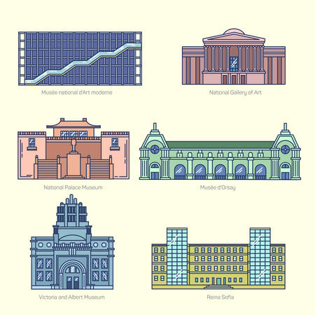art museum: Monuments thin line vector icons. National Gallery of Art, National Palace Museum, Orsay, Victoria and Albert Museum, Sofia. Famous world museums.