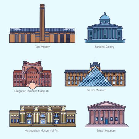 Monumentos iconos línea vector delgadas. Tate Modern, Galería Nacional, el Museo Gregoriano Etrusco, el Louvre, el Museo Metropolitano de Arte, el Museo Británico. Museos de fama mundial.