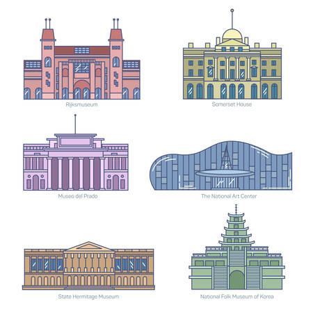 art museum: Monuments thin line vector icons. Amsterdam state museum, Somerset House, The National Art Center, State Hermitage Museum, National Folk Museum of Korea. Famous world museums.