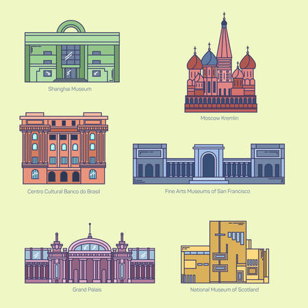 architectural heritage of the world: Monuments thin line vector icons. Shanghai museum, Moscow Kremlin, Bank of Brazil Cultural Center, Fine Arts Museums of San Francisco, Grand Palais, National museum of Scotland. Famous world museums.