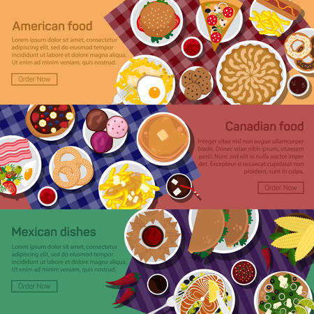sandwitch: Vector flat illustration of canadian, american, mexican national dishes. Pizza, fried potato, roasted egg meals. Hot chocolate for drinking