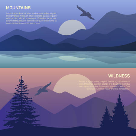 scenics: Vector illustration of landscape in north areas, evening dusk with pine trees on the rocks.  Scenic view of meadow with nature pine, firtree, coniferous trees, sky, mountains and sun. Illustration