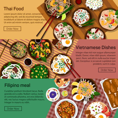Vector flat illustration of thai, vietnam, philippines national dishes. Salads and meat meals with sauce and spicy ingredients