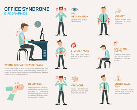 work stress: Vector flat illustration for office syndrome. Wrong sitting in the workplace. Eyes inflammation, obesity, stomach ache, knees pain, headache, hands pain, lower back pain.