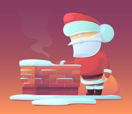 stovepipe: Vector illustration of Santa Claus near chimney with gifts in the bag. Merry Christmas, New Year and happy holidays. Celebrating with family, finding toys under christmas tree. X-mas eve.