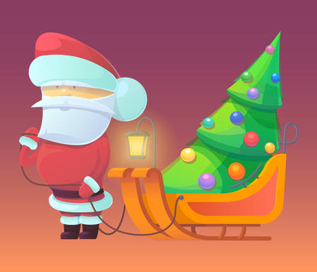 toboggan: Vector illustration of Santa Claus with firtree on sleighs. Merry Christmas, New Year and happy holidays. Celebrating with family, finding toys under christmas tree. X-mas eve.