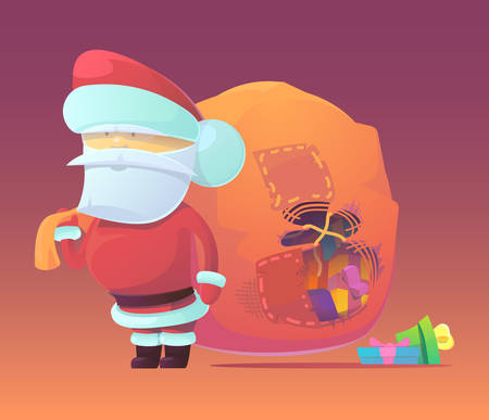 Vector illustration of Santa Claus with gifts in the bag. Merry Christmas, New Year and happy holidays. Celebrating with family, finding toys under christmas tree. X-mas eve.