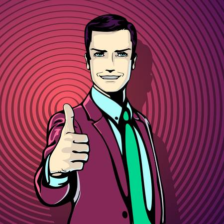 feel good: illustration of successful businessman gives thumb up in vintage pop art comics retro style. Likes and positive feel. Gesture good and excellent, agree and smile.