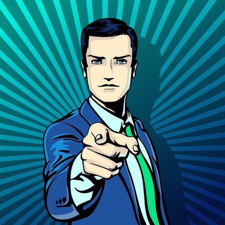 feel good: illustration of successful businessman pointing finger in vintage pop art comics retro style. Likes and positive feel. Gesture good, agree and smile. Illustration
