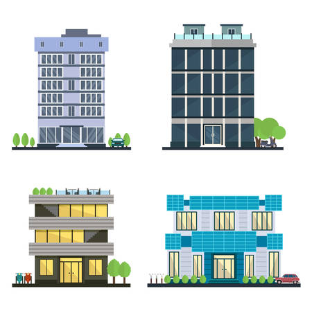 Zestaw nowoczesne centrum biznesowe z różnych architektur facades.Houses i budynków biurowych w wielkim mieście. Sklepy i kawiarnie, biura. Elementy do budowy miejskich krajobrazów.