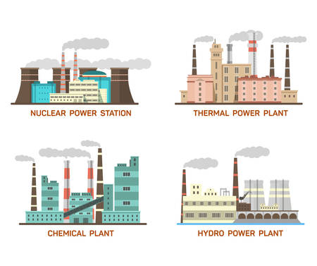nuclear energy: Set of industrial flat illustration of different types of power plants. Conception of making energy and pollution of the environment. Nuclear, thermal, hydro, chemical energy.
