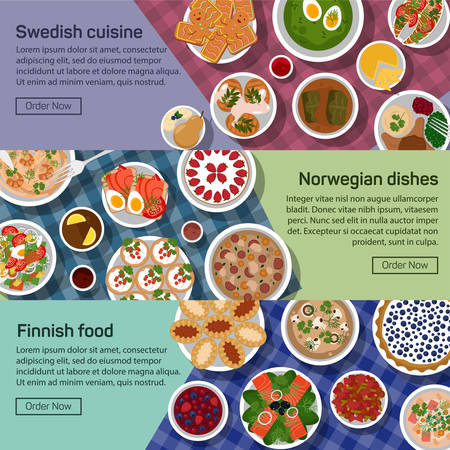 herring: flat illustration banners of finnish, norwegian, swedish national dishes. Egg and jam, meatball and sauce, smushroom and tew, lapskaus and karelian, strawberry and reindeer roast with healthy ingredients.