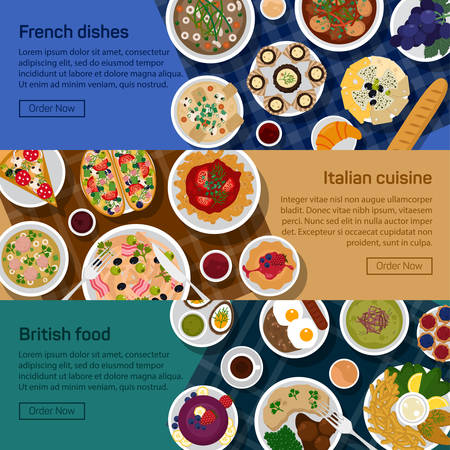 italian sausage: flat illustration banners of british, italian, french national dishes. Egg and bread, croissant and fried potato, haute and nouvelle, bisque and sauce, grape and lemon, pizza and sausage, roasted beef.