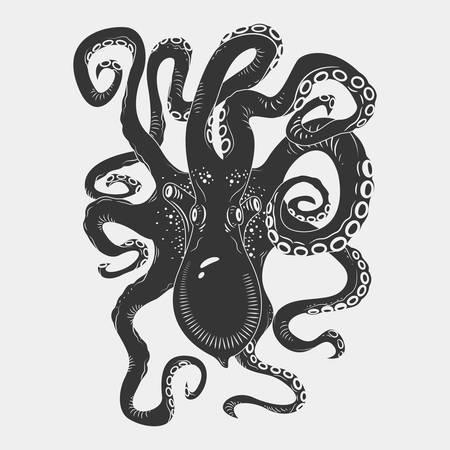 pulpo: Personajes de dibujos animados pulpo negro peligro con tentáculos que se encrespan nadar bajo el agua, aislados en blanco. Vectores