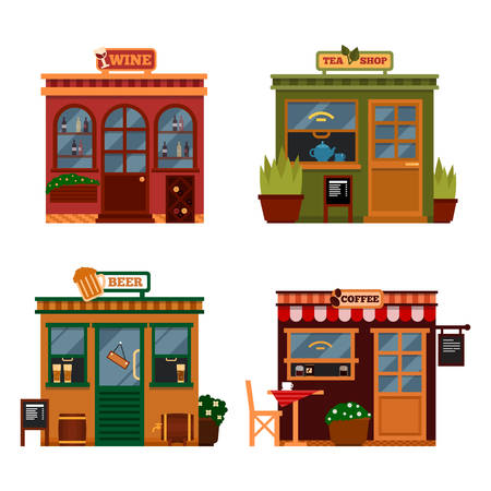 Vector illustration of buildings that are shops for buying drink. Set of nice flat shops. Different Showcases - Wine, tea shop beer bars, coffee shops with menu. Vector Illustration