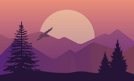 pine trees: Vector illustration of landscape in north areas, evening dusk with pine forest on the rocks. Scenic view of meadow with nature pine, firtree, coniferous trees, sky, mountains and sun. Illustration