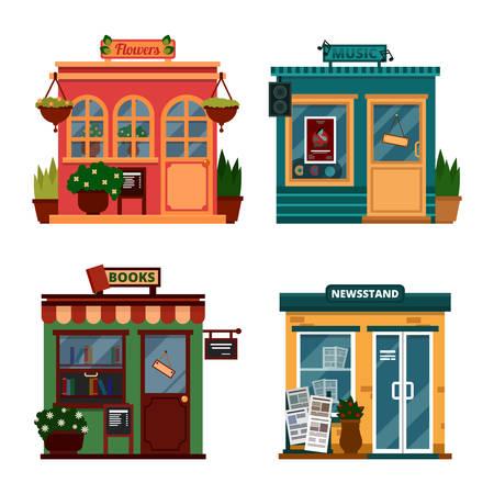 ortseingangsschild: Vektor-Illustration von Gebäuden, die Geschäfte für Dekorationen und Freizeit-Zubehör zu kaufen. Set schöne Wohnung Geschäfte. Verschiedene Vitrinen - Blumen, Musik, Bücher, Zeitungskiosk mit Sound-Box. Illustration