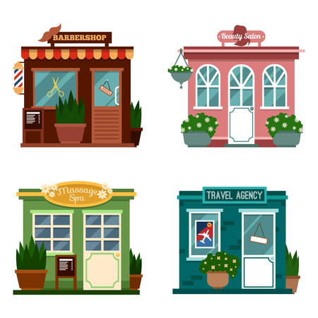 front of house: Vector illustration of buildings that are shops for services. Set of nice flat shops. Different Showcases - Beauty salon, Barbershop, massage spa, travel agency for making people travel.