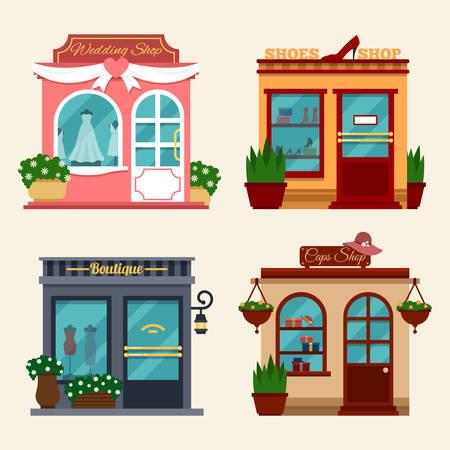 tienda zapatos: Ilustración vectorial de los edificios que se encuentran las tiendas para comprar regalos. Conjunto de tiendas planas agradables. Diferentes Vitrinas - vestidos de novia, tiendas de zapatos de las mujeres en tacones altos, boutique, tienda de gorras.