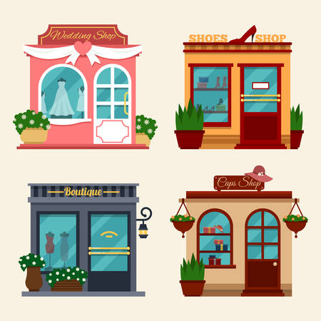 retail: Vector illustration of buildings that are shops for buying presents. Set of nice flat shops. Different Showcases - wedding dresses, shops with women shoes on high heels, boutique, caps shop.