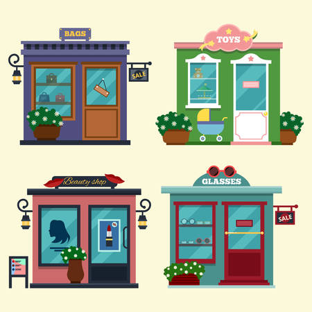 baby open present: Vector illustration of buildings that are shops for buying presents. Set of nice flat shops. Different Showcases - selling bags, toys for presents, beauty shop, glasses. Discount sales. Illustration