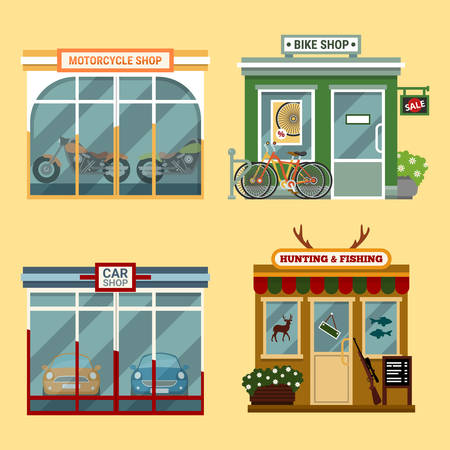 city fish market sign: Vector flat illustration of buildings that are shops that are selling  motorcycles, bikes with discount, cars, accessories for hunting and fishing. Different Showcases.