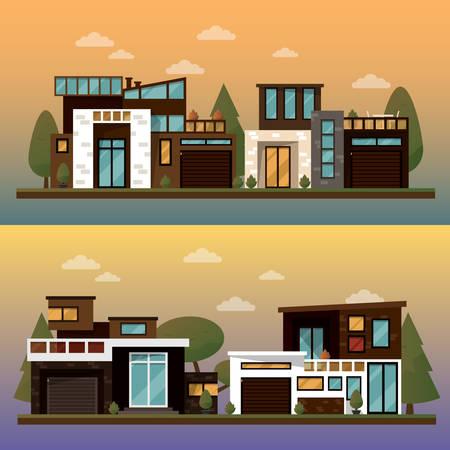 buisson: Vector illustration plate de maison pour deux familles et bannières sweet home de rue en plein air, la chaussée privée, arrière-cour avec garage. l'architecture de bureau avec de belles plantes et des buissons. La maison privée bannière